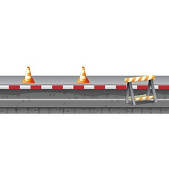 Construction equipment on the road vector