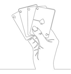 continuous line hand holding four aces cards vector image