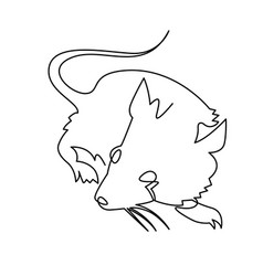 Continuous one line drawing rat chinese zodiac vector