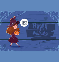 cute kid wear witch costume happy halloween vector image