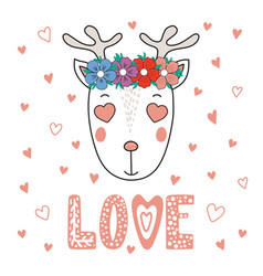 Cute reindeer with heart shaped eyes vector