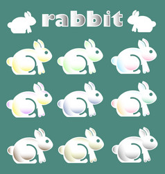 cute white rabbit icon vector image