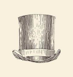 cylinder hat vintage engraved hand vector image