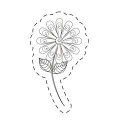 daisy flower decoration cut line vector image