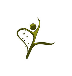 Dance movement logo design template vector