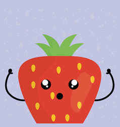 Delicious strawberry fruit kawaii character vector
