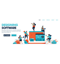 Designing mobile apps and desktop software by vector
