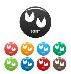 Donkey step icons set color vector