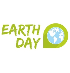 Earth day icon with blue planet vector image