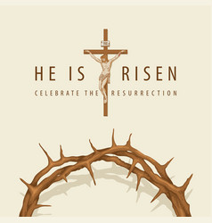 easter banner with crown thorns and crucifixion vector image