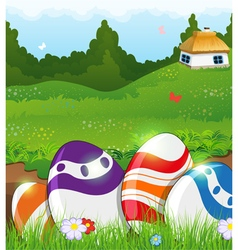 Easter eggs in the grass and rural house vector