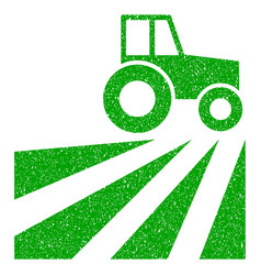 Farm field with tractor icon grunge watermark vector