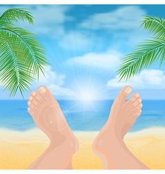 feet on the beach vector image