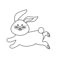 Figure cute white rabbit animal running vector