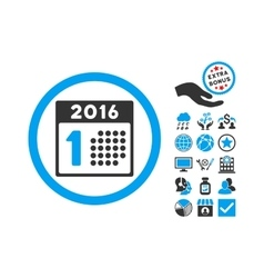 First 2016 Day Flat Icon With Bonus vector image