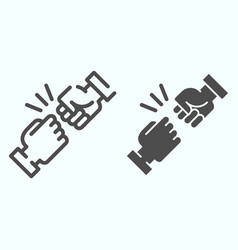 Fist bump line and solid icon friends greeting vector