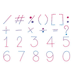 font design for numbers and signs in dot lines vector image