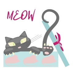 Gift with cute black Kitten vector