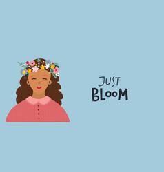 Girl flower wreath bloom postcard vector