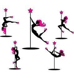 Glamorous pole dancers vector
