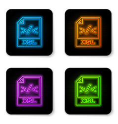 Glowing neon xsl file document icon download xsl vector