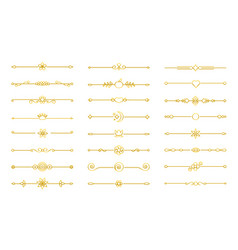 Gold flat divider border on isolated white vector