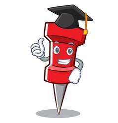 graduation red pin character cartoon vector image