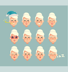 grandmother constructor set of grannies heads vector image