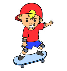 Happy boy playing skateboard character vector