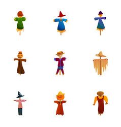 Happy scarecrow icon set cartoon style vector