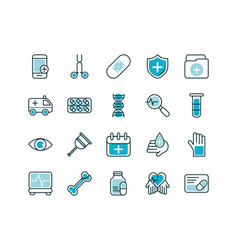 Healthcare equipment medical icons set line fill vector