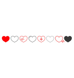 heart icon outline shape for love and health vector image