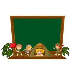 hiking children on blackboard vector image