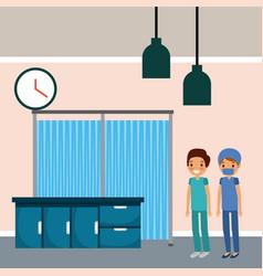 hospital medical room doctor nurse cabinets vector image