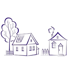 Houses with a tree vector