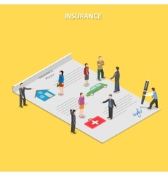 Insurance policy flat isometric concept vector