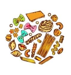 Italian Pasta Round Composition vector