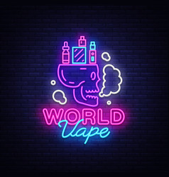 Logo electronic cigarette in neon style vape shop vector