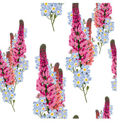 lupines pink flowers and blue forget-me-not vector image
