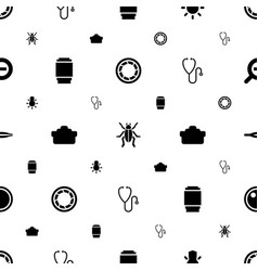 Macro icons pattern seamless white background vector