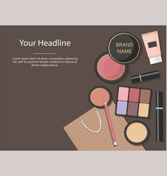 makeup cosmetics set various beauty products vector image