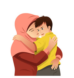 Muslim mother hugging her son vector