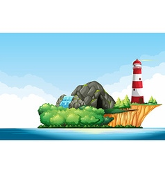 Nature scene with lighthouse and cave on the vector image