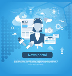 News portal web banner with copy space on blue vector