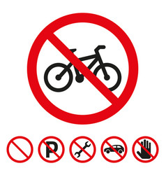 no bicycle sign on white background vector image