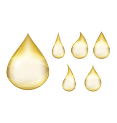 Oil drops realistic orange drop isolated falling vector