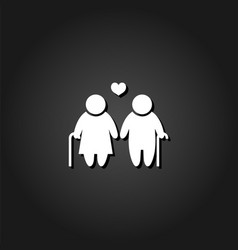 Old couple love people icon flat vector