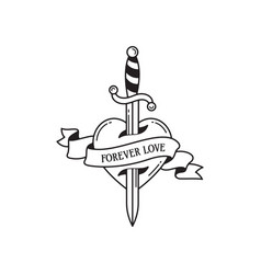 Old school tattoo emblem label with dagger heart vector