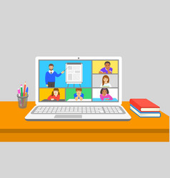 Online education virtual class teleconference vector