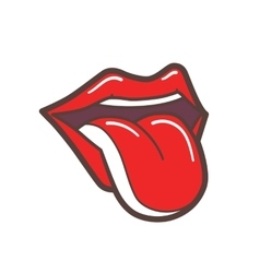 Open Mouth With Red Lips and Tongue Sticking Out vector image